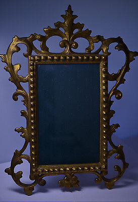 ANTIQUE NB & IW ORNATE ROCOCO BRASS OVER CAST IRON PICTURE FRAME EASEL BACK