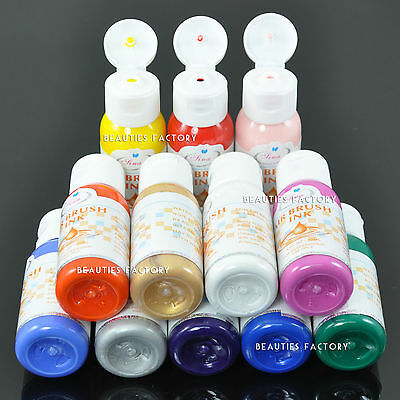 12 Colour Professional Nail Art Airbrush Paint Set Kit Fingernail Polish 109N