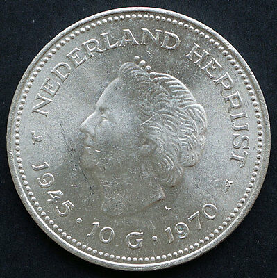 1970 Netherlands 25th Anniversary of Liberation 10 Gulden  Silver Coin KM# 195