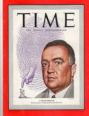 Time Magazine 1949, August 8, J. Edgar Hoover,  No Label on cover,
