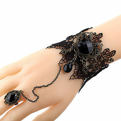 Gothic Jewelry Black Cameo Lace Flower Bracelet Chain Ring Lolita Gift