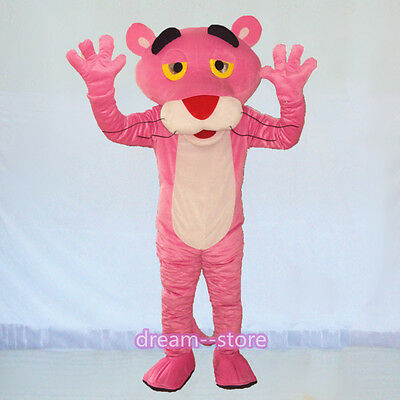 Fast shipping Pink Panther Mascot Costume Adult Size Fancy Dress