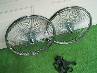 "PAIR WHEELS 20 /"" 36 TWISTED SPOKES CB REAR /& FRONT LOWRIDER  BMX BIKE NEW CHRO"
