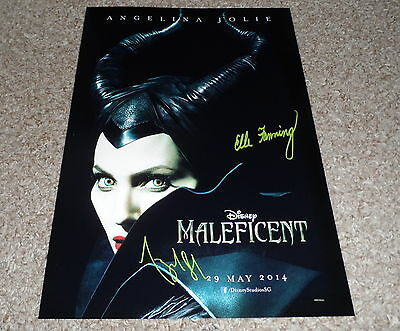 """Maleficent Pp Cast X2 Signed 12"""" X 8"""" A4 Photo Poster Angelina Jolie"""