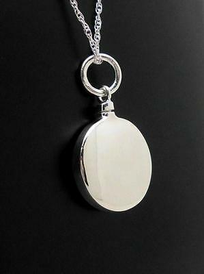 925 Sterling Silver Round Memorial Keepsake Cremation Ash Funeral Urn Pendant