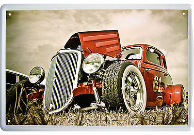 "Teilkoloriertes Oldtimer Us Car Motiv ""dream Car Graveyard"" Blechschild"