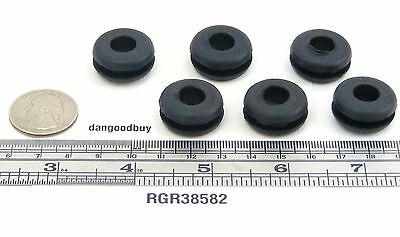 "6  Rubber Grommets  3/8"" Inner Diameter -  Fits  5/8"" panel hole"