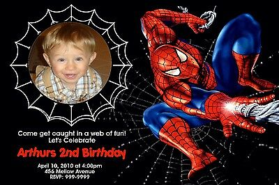 Spiderman Birthday Invitation Cardstock W Envelope 1 00 Picclick
