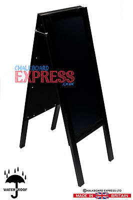 Tall Waterproofed Chalkboard A Frame Pavement Sign Black 1100mm x 420mm
