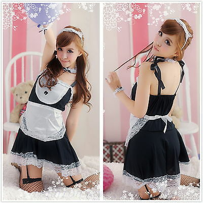 Sexy Lace Trim French Maid Servant Cosplay Costume Party Fancy Dress Outfit 6pcs