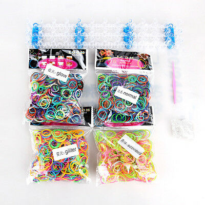 2400 x Rainbow Rubber Loom Bands Bracelet Making kit Set With S clips
