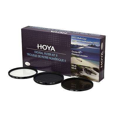 HOYA 62mm Digital Filter Kit Set: HMC UV, CPL/Circular Polarizer, NDx8 , & Pouch