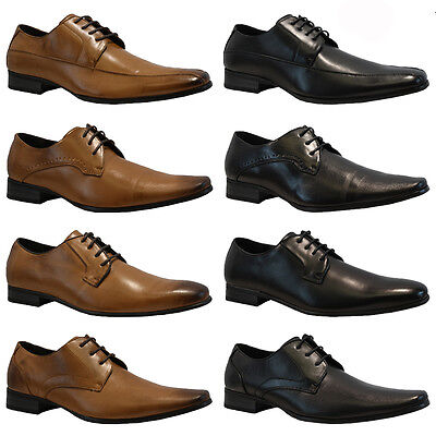New Mens Faux Leather Italian Casual Formal Lace Up Dress Office Wedding Shoes