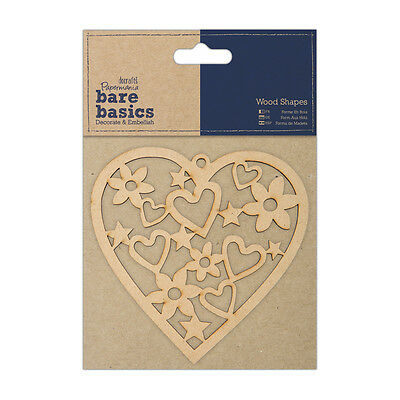 Docrafts Papermania wood craft embellishment Bare basics wooden heart 4x4""