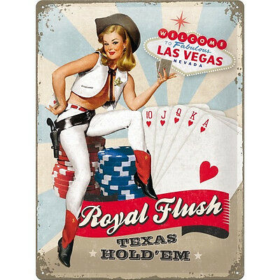 A3 Retro Tin Metal Embossed Sign 'ROYAL FLUSH' 1950's Advert style Pin up Casino