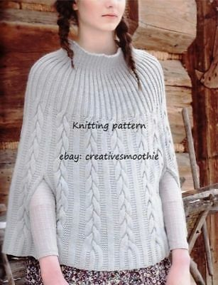 (645) Ladies Cable Cape/ Poncho, 32-46'', DK KNITTING PATTERN