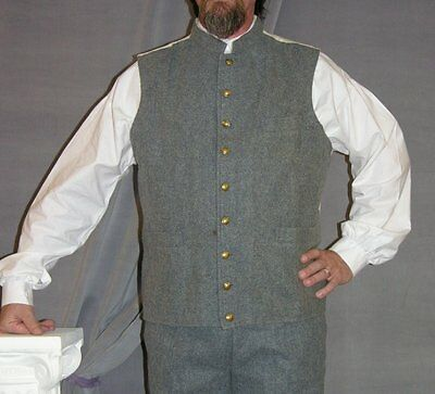 Civil War CS military vest waistcoat 3 pocket, size 36...ships FREE in USA