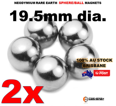 2X Spheres Balls Neo Rare Earth Magnets 19.5mm dia. N42