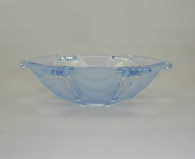 Vintage Art Deco Blue Frosted Dessert Bowl