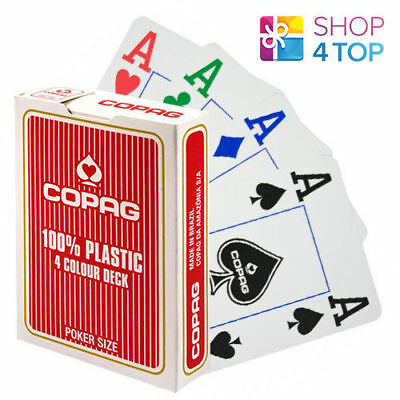 Copag 4 Colour 100% Plastic Jumbo Index Poker Playing Cards Deck Red New