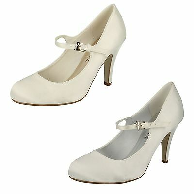 Ladies Anne Michelle Satin Wedding Shoes Available In White & Ivory Style- F9699
