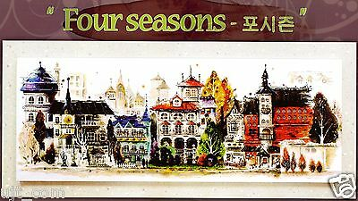 """Water color painting - Four season"" counted cross stitch pattern Leaflet."