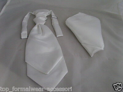 Shiny Ivory ( off-white ) Double Drop BOYS Ruche Wedding Tie-Cravat & Hankie Set