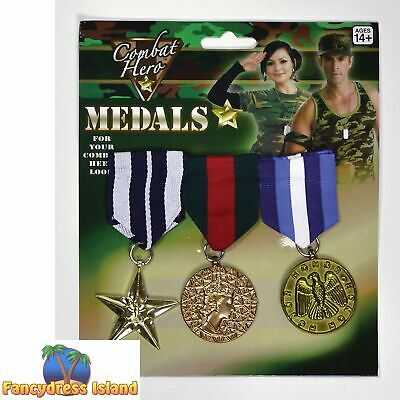 3 PIECE MILITARY ARMY WAR MEDALS - mens womens fancy dress costume accessory