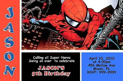Spiderman Brothers Birthday Invitation 24hr Service UPRINT 4x6 or 5x7