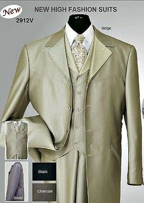Mens Shark Skin Wool Feel Zoot Suit 4 button with Fancy Vest ,Waist Band 2912V
