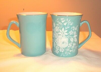 ROYAL WINTON GRIMWADES MUGS ENGLAND TURQUOISE WHITE ROSE FLORAL SET 2 SILVER A
