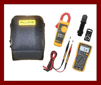 Fluke 117 323 Electrician's Kit Multimeter DMM Clamp Meter TPAK Magnetic Hanger