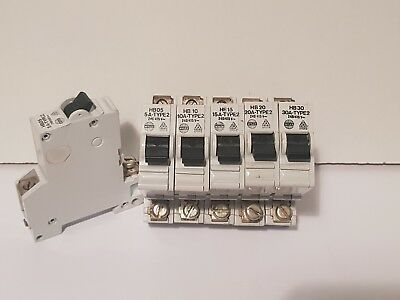 Wylex Hb Type 2 Mcb's Circuit Breakers 5A 10A 15A 20A 30A 40A 50A & 60A Hb60