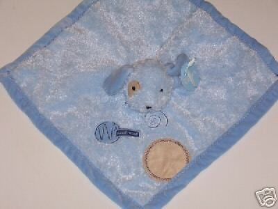 NWT NEW Carters WOOF WOOF Blue Puppy Dog Security Blanket Snuggle Buddy Lovey