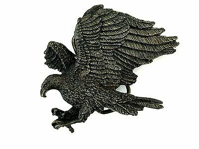 Belt Buckle Flying American Bald Eagle Made in US 1980 Solid Brass