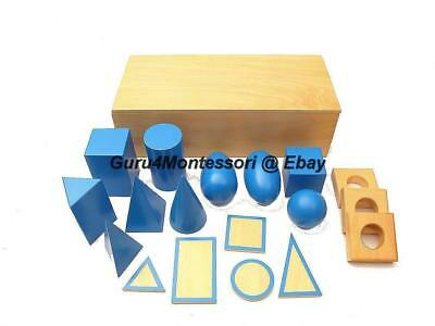 NEW Montessori Sensorial Material- Blue Geometric Solids with Base in Box