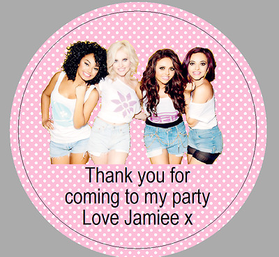 24 x 40mm Personalised Stickers Round Little Mix Pink Labels Party