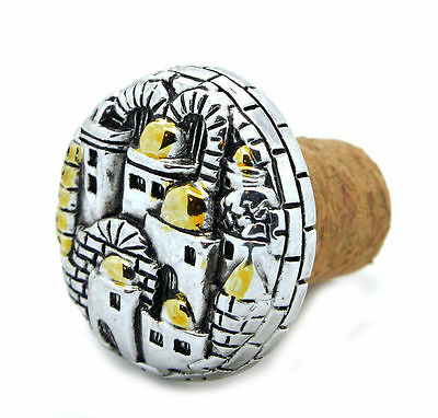 Wine Stopper Silver and Gold Plated Jerusalem Israel Holyland 1.5 inches / 4 cm