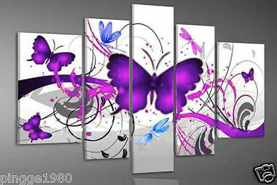 Modern Abstract Purple Color Heart Love Butterfly art Oil Painting (no framed)