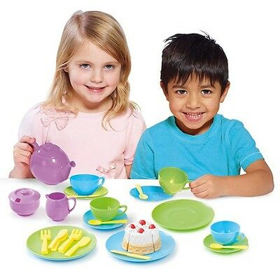 Casdon 34 Piece Toy Tea Party Set & Dinnerware Dolls Picnic Plastic Cake Plates