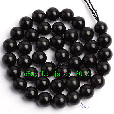 """10mm Smooth Natural Black Obsidian Round Shape Gemstone Loose Beads Strand 15"""""""