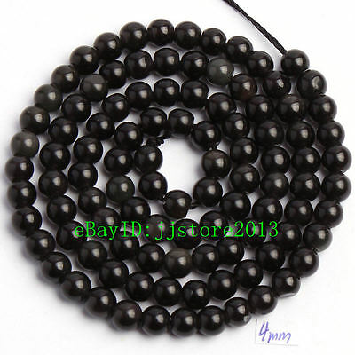 """4mm Smooth Natural Black Obsidian Round Shape Gemstone Loose Beads Strand 15"""""""