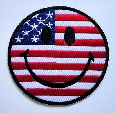 USA US American Nation Flag Smile Smiley Face Happy Funny Iron-On Patches #FL041