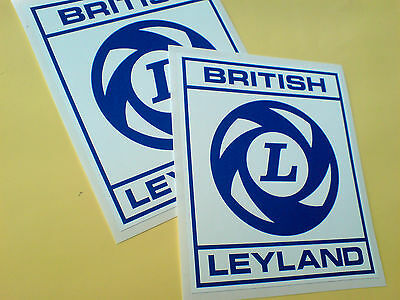 BRITISH LEYLAND Square Box Style Classic Retro Car Stickers Decals 2 off 100mm