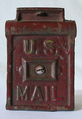U.S. MAIL RED PAINTED VINTAGE CAST IRON BANK by A.C. WILLIAMS