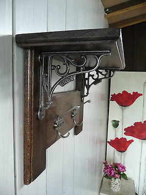 Vintage Style Coat Rack  Solid Oak with Shelf Country Home- GNER (DARK WOOD)