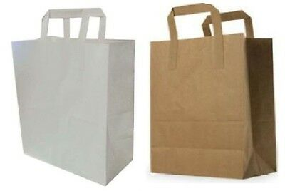 Brown White Paper Carrier Bags With Flat Handles S,M,L 5 10 15 20 30 50 100 250