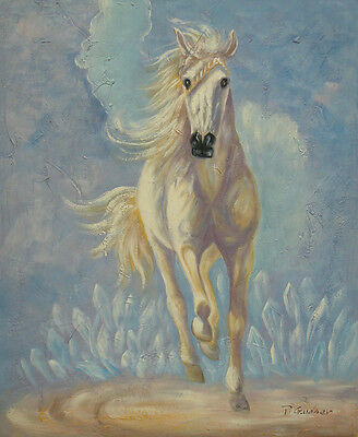 """Oil Painting of Animal Beautiful White Horse Running on Field Portrait 20x24"""""""