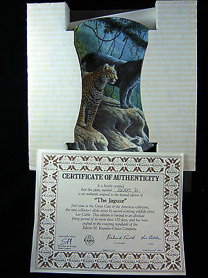 "Knowles THE JAGUAR- 8.5"" Collector Plate-Never Displayed-Box & COA-FREE SHIP"