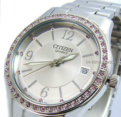CITIZEN QUARTZ JAPAN LADY WATCH CRYSTAL STAINLESS STEEL EV0040-59A NEW AUTHENTIC